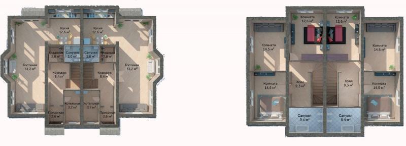 Планировка Дуплекс площадью 120 кв.м в ЖК «Юкковское Парк»
