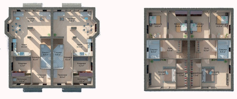 Планировка Дуплекс площадью 158 кв.м в ЖК «Юкковское Парк»